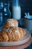 image of croissant  - Fresh baked croissants croissants with soft almond filling - JPG