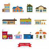 picture of firehouse  - Small Town Buildings Vector Set - JPG