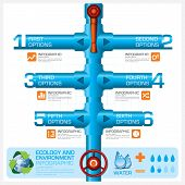 stock photo of pipeline  - Water Pipeline Ecology And Environment Business Infographic Vector Design Template - JPG