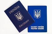 image of passport cover  - an image of Ukrainian passports on a white background - JPG