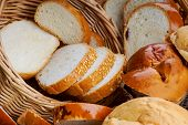picture of fresh slice bread  - Sliced fresh bread in a wicker basket - JPG