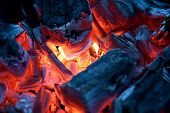 picture of ember  - Red hot embers burning inside a brazier - JPG