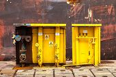 image of oxygen  - Acetylene and oxygen switching board in shipyard - JPG
