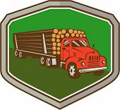 stock photo of logging truck  - Illustration of a vintage logging truck carrying truckload logs of wood viewed from side front set inside shield crest on isolated background done in retro style - JPG