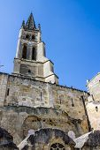 picture of bordeaux  - the bell tower of the monolithic church in Saint Emilion Bordeaux France - JPG