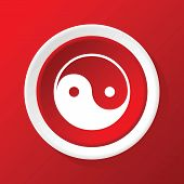 picture of ying yang  - Round white icon with image of ying yang - JPG
