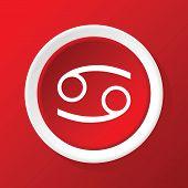 foto of cancer horoscope icon  - Round white icon with zodiac symbol cancer - JPG
