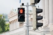 foto of homogeneous  - Traffic light Vienna for more tolerance stoplight with same - JPG
