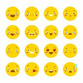stock photo of angry smiley  - Set of smiley icons with different face - JPG