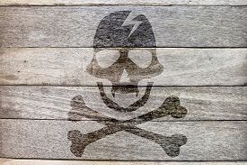 picture of pirates  - pirate icon on wood background rock style - JPG