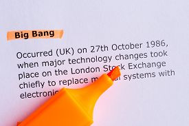 picture of big-bang  - big bang word highlighted on the white paper - JPG