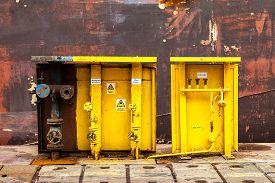 stock photo of shipyard  - Acetylene and oxygen switching board in shipyard - JPG