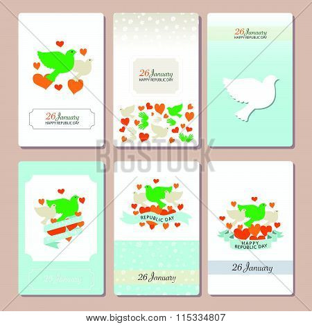Happy Republic Day India Templates For Postcard Invitation Card