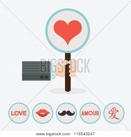 Male Hand Holding Vertical Circle Paddle Stick And Cute Red Heart