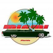 Постер, плакат: Miami car cadillac cabriolet poster