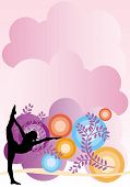 picture of yoga silhouette  - graphic illustration of woman in yoga pose on a graphic background - JPG