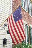 picture of betsy ross  - Betsy Ross flag was the first flag of the United States having thirteen stars in a circle representing a new constellation - JPG