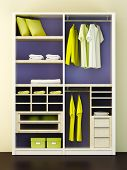 stock photo of clothes hanger  - Inside of the modern closet 3d rendering - JPG