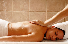 image of spa massage  - woman getting a water massage in a day spa - JPG
