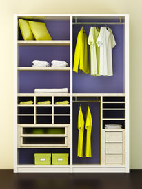 pic of clothes hanger  - Inside of the modern closet 3d rendering - JPG