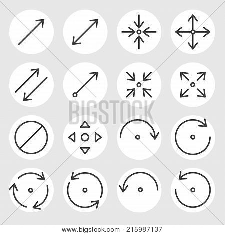 poster of Line arrows and signs vector icons set. Different states, types and directions of the arrows, double arrow, curved, triangle, angled, rotate, cancel and other navigation arrows