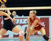 BUDAPEST, HUNGARY - JUNE 18: Zsuzsanna Jozsa (in black 4) in action at a CEV European League woman's