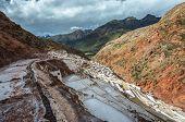 Salt Natural Mine. Inca Salt Pans At Maras, Near Cuzco In Sacred Valley, Peru poster