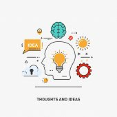 Vector Conceptual Flat Line Illustrations. Thoughts And Ideas poster