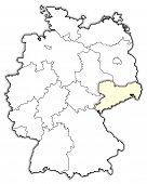 foto of welts  - Political map of Germany with the several states where Saxony is highlighted - JPG