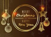 Merry Christmas And Happy New Year Greeting Gold Vintage Card, Christmas Balls And Bell. Vip, Luxury poster