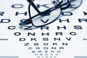 picture of snellen chart  - Close up of reading glasses on Eye Chart - JPG