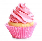 Tasty colorful cupcake on white background poster