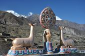 picture of brahma  - Brahma symbol on Muktinath Temple on the mountains background - JPG