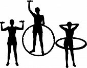 stock photo of lifting weight  - set of silhouettes young active woman goes in for sports - JPG