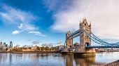 Panoramic London skyline with iconic symbol, the Tower Bridge and Her Majestys Royal Palace and For poster