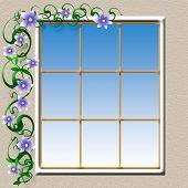 foto of hacienda  - flowering vine around a hacienda window illustration - JPG