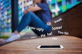 Bullying In Social Networks, Concept. Young Girl, Student, Brunette With Long Hair In Jeans And Whit poster