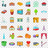 Capital Icons Set. Cartoon Style Of 36 Capital Icons For Web For Any Design poster