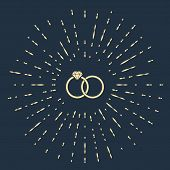 Beige Wedding Rings Icon Isolated On Dark Blue Background. Bride And Groom Jewelery Sign. Marriage I poster