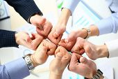 Close-up Of Smart People Performing Cooperation Gesture To Greet Presumptive Boss Or Colleagues And  poster