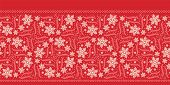 Hand Drawn Abstract Winter Snowflake Border Pattern. Stylish Crystal Stars. Red Ecru Monochrome Back poster