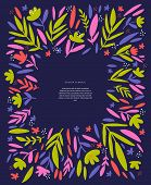 Flowers, Leaves Text Frame Hand Drawn Template. Scandinavian Style Border With Copyspace. Girlish Po poster