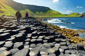 Giants Causeway, An Area Of Hexagonal Basalt Stones, County Antrim, Northern Ireland. Famous Tourist poster