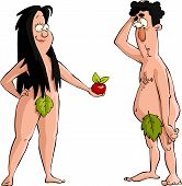 stock photo of adam eve  - Eve offers Adam the apple vector illustration - JPG