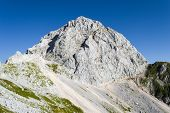 Mangart (or Mangrt) Peak, A Mountain In The Julian Alps, Located On The Border Between Italy And Slo poster
