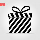 Gift Box, Presents Isolated On White. Black And White Wrapped. Sale, Shopping Concept. Gift For Birt poster