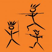 Imitation Of Cave Paintings Of Prehistoric People Hunting With Spears, Drawn By Hand. Prehistoric Pe poster