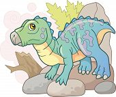 Cartoon Cute Prehistoric Dinosaur Iguanodon, Funny Illustration poster