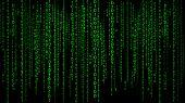 Digital Background Green Matrix. Binary Computer Code. Hacker Concept. 3d Rendering. poster