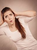 Shock Face Expressions Concept. Closeup Of Shocked Amazed Woman Gesturing With Hands poster